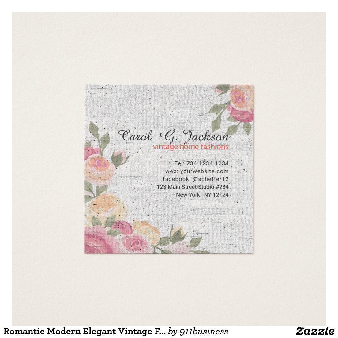 Romantic Modern Elegant Vintage Floral business card design. A ...