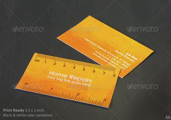 handy business card with ruler yellow orange business cards