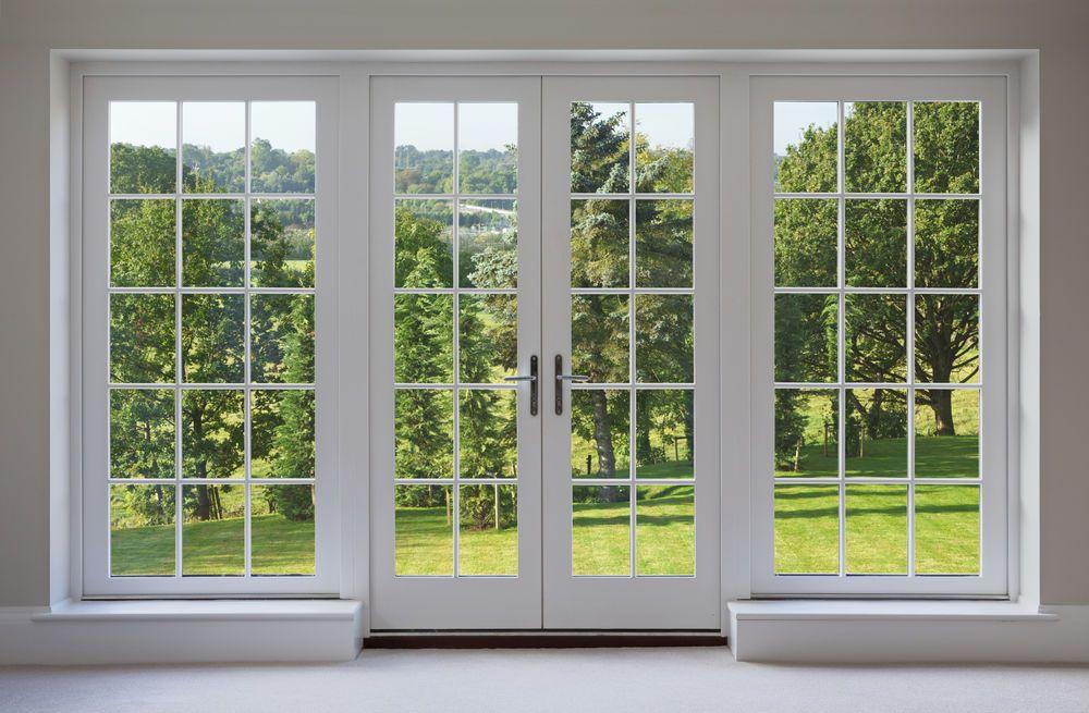 White Two Panel Hinged Patio Door With Door Panel