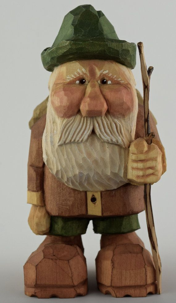 Hiker wood carving nordic gnome caricature backpack by