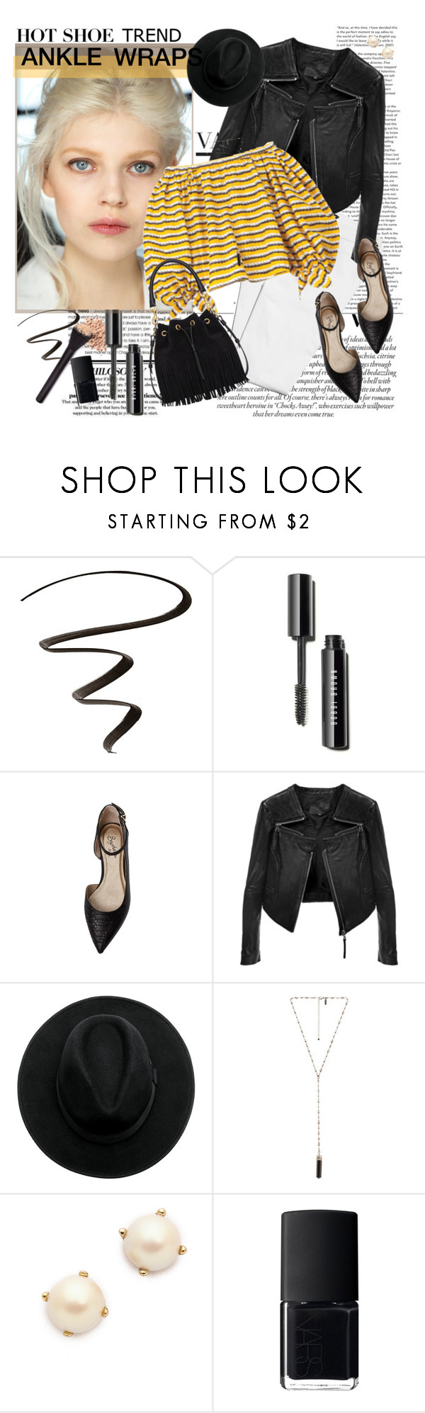 """""""Hot trend: ankle wrap flats"""" by style-matter ❤ liked on Polyvore featuring COVERGIRL, Seychelles, Linea Pelle, Yves Saint Laurent, Natalie B, Kate Spade, NARS Cosmetics, shoes, trend and contestentry"""