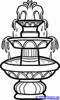 Water Fountain Drawing : water, fountain, drawing, Fountain,, Water, Step,, Stuff,, Culture,, Online, Drawing, Tutorial,, Added, Dawn,, Marc…, Drawings,, Sketch,, Drawings
