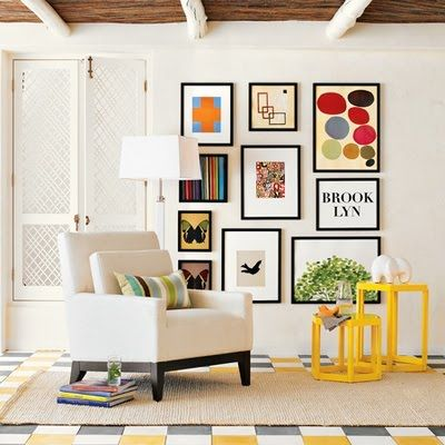I like the pop of yellow and the way the art is displayed. | pop art | Pinterest | Frame placement Walls and Gallery wall  sc 1 st  Pinterest & I like the pop of yellow and the way the art is displayed. | pop art ...