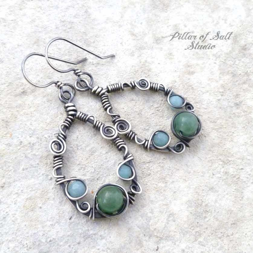 Sterling silver wire wrapped earrings with amazonite and green ...
