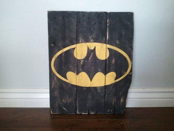 Superhero Sign- Walnut Stain- Superhero Wall Art- Boys Bedroom Decor ...