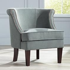 200 Cohen Blue Gray Accent Chair Queen Anne Staging Accent