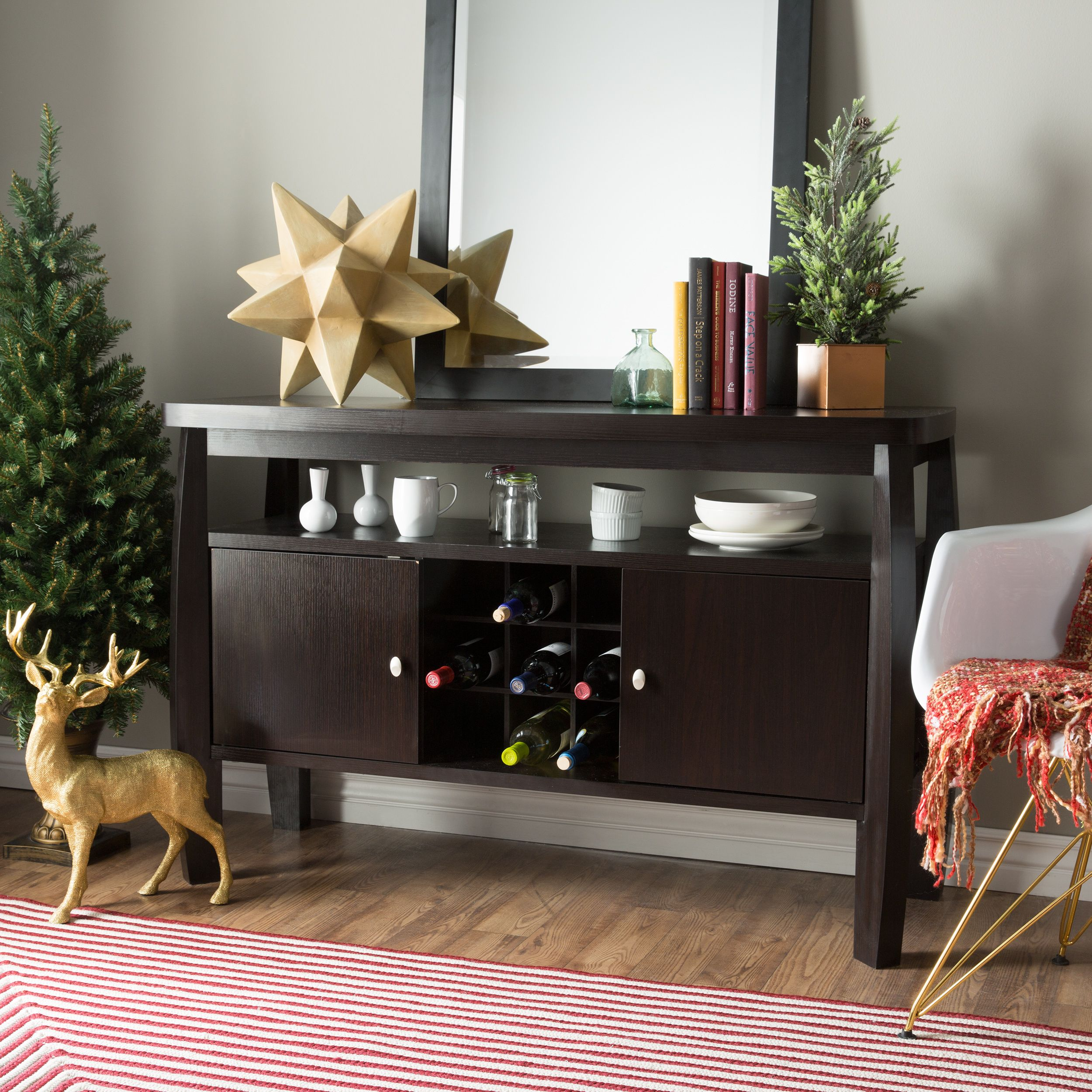 Add An Elegant Touch To Any Room With This Durable Espresso Buffet Table.  The Elegant