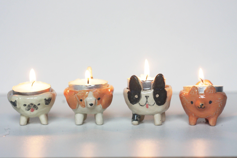 Custom Ceramic Dog Tea Light Candle Holder Personalised Dog