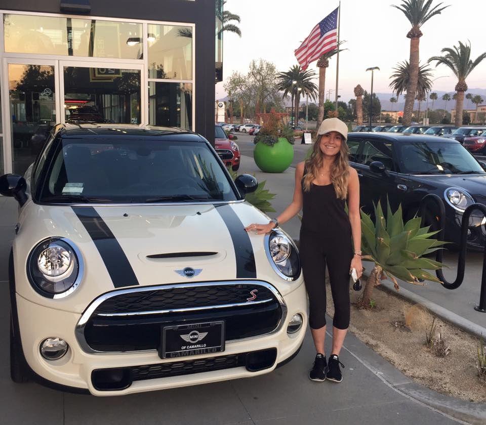 Caitlin and her brand new 2016 mini cooper s 4 door hardtop in pepper white