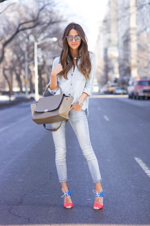 Double denim with beige purse and colorful sandals