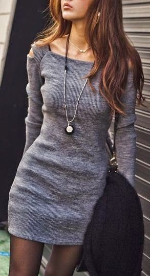 Latest fashion trends: Women's fashion grey long sleeves dress