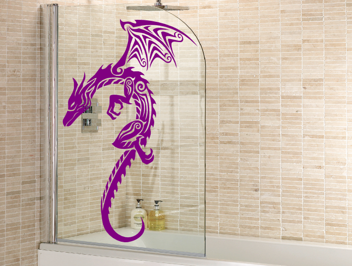A flying tribal dragon sticker for the glass screen panels and doors of showers. The winged dragon shower transfers are made from a self adhesive vinyl and ... & Flying Tribal Dragon | Shower Screen Stickers | Pinterest | Dragons ...