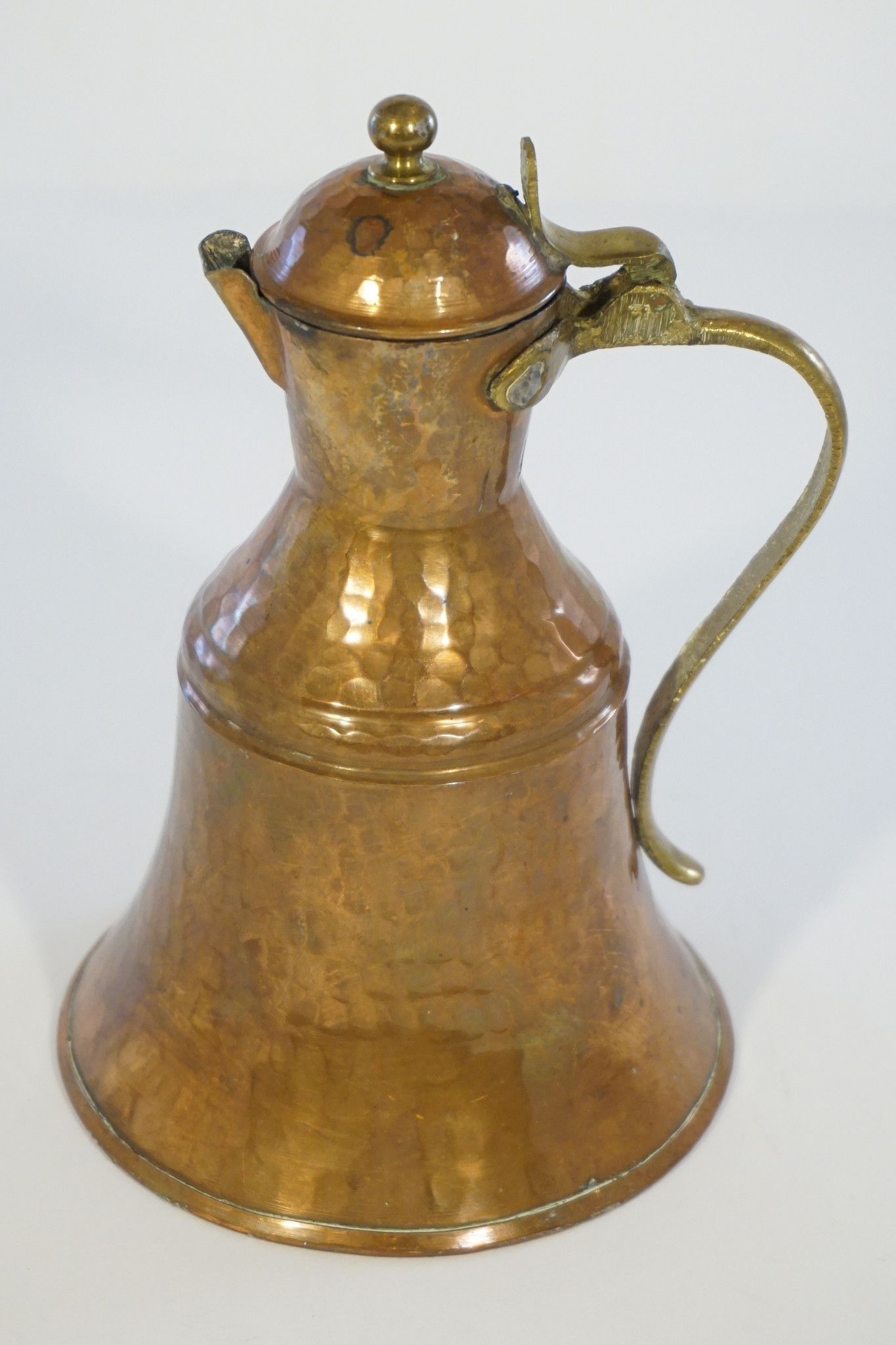 vintage hammered copper clad milk or water pitcher with lid made