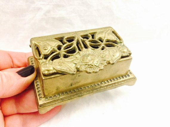 ON SALE Antique BRASS turtle Box Trinket Box Jewelry Box old brass stamped england