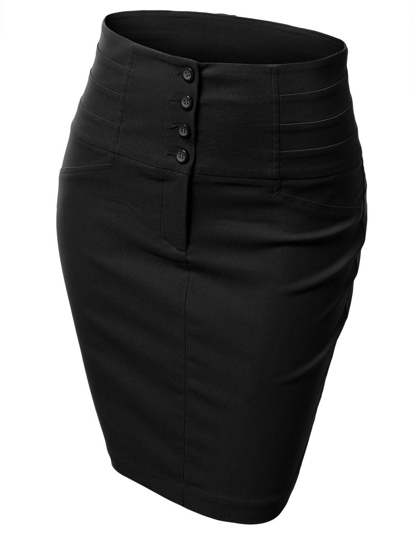 a759d728b Doublju Women's Front Zip Stretchy Mid Length Pencil Skirt: Amazon.co.uk:  Clothing