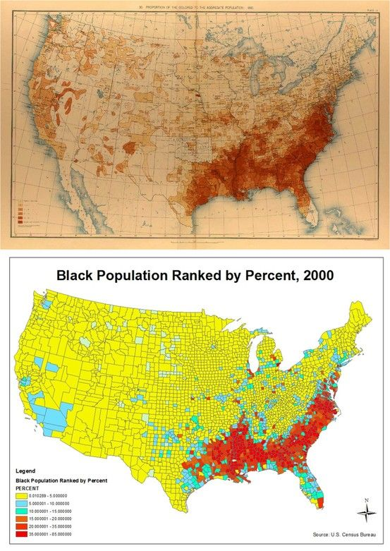 1890 2000 Maps Of Of African American Population Intriguing Comparison Historical Maps Map Cartography