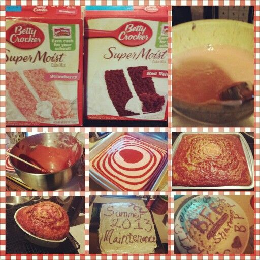 I made a marble cake of red velvet and strawberry... I used cake boxes but I dressed them up and I got so many compliments on them... ~NLW 2013