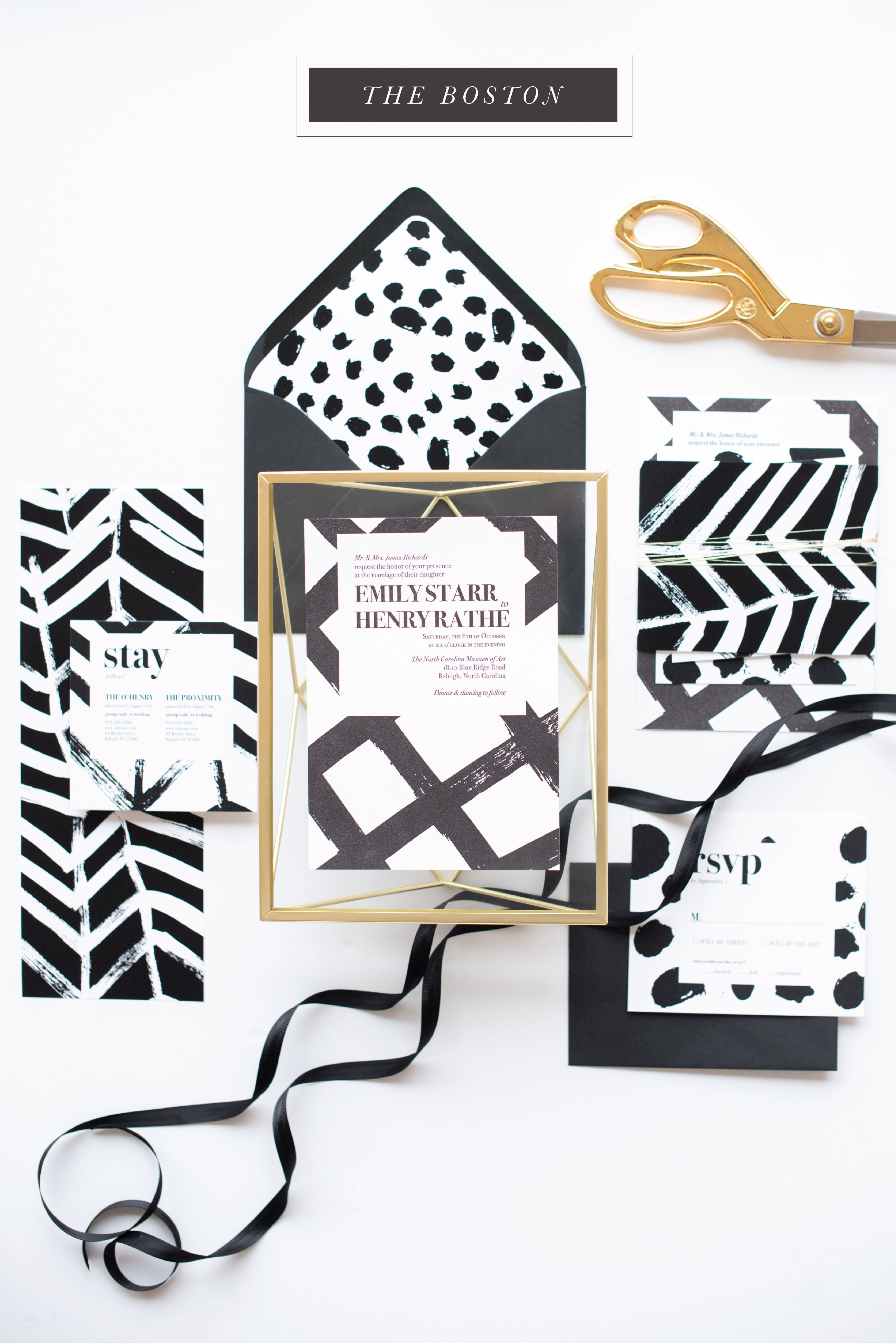 black and white wedding invitation patterns patterned modern