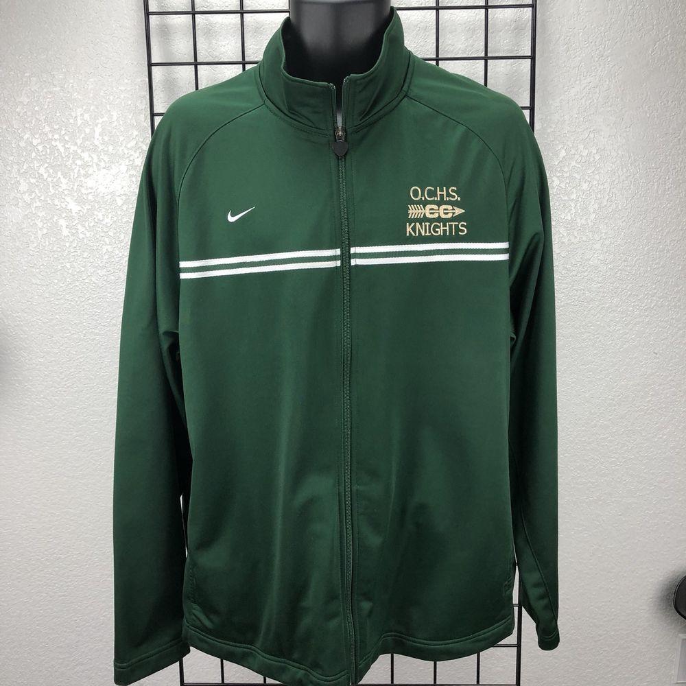 6aa37e782353 Nike Team O.C.H.S. CC Knights Men s Green Full Zip Up Polyester Jacket Size  XL  Nike  ZipUpJacket