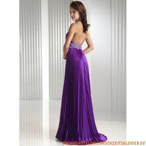 V-Ausschnitt romantisches schönes Abendkleid aus Stretchsatin Bodenlang A-Linie