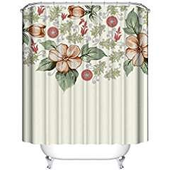 Xijia Decor Shower CurtainCartoon Beautiful Flowers Beige Pattern Custom CurtainMildew Resistant Fabric Bathroom Decorations 48x72120x180
