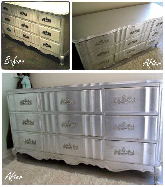 Silver Leaf Dresser Diy Using Aluminum Foil Silverleaf Silverfurniture