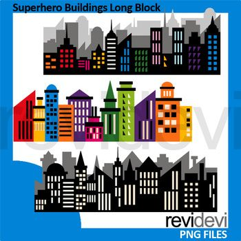 Superhero Buildings Long Block Clipart A Fun Collection Of City Skyline Clip Art In Silhouette Black And Ra Superhero City Superhero Clipart Clip Art Freebies