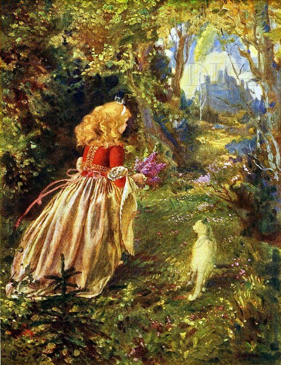 Lovely Little Princess Walking Thru Woods With White Cat Vintage