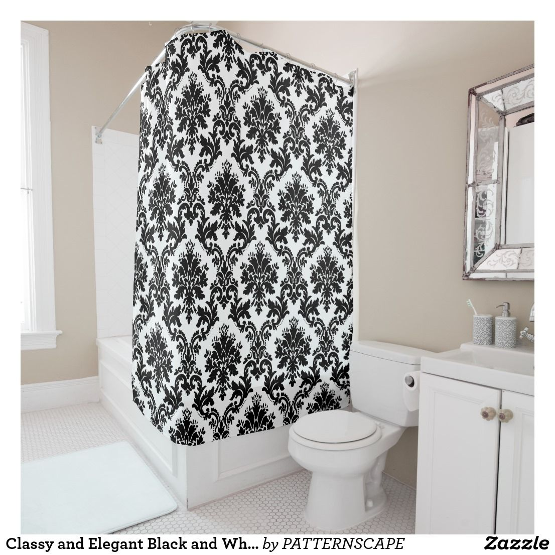 Classy And Elegant Black And White Damask Pattern Shower Curtain
