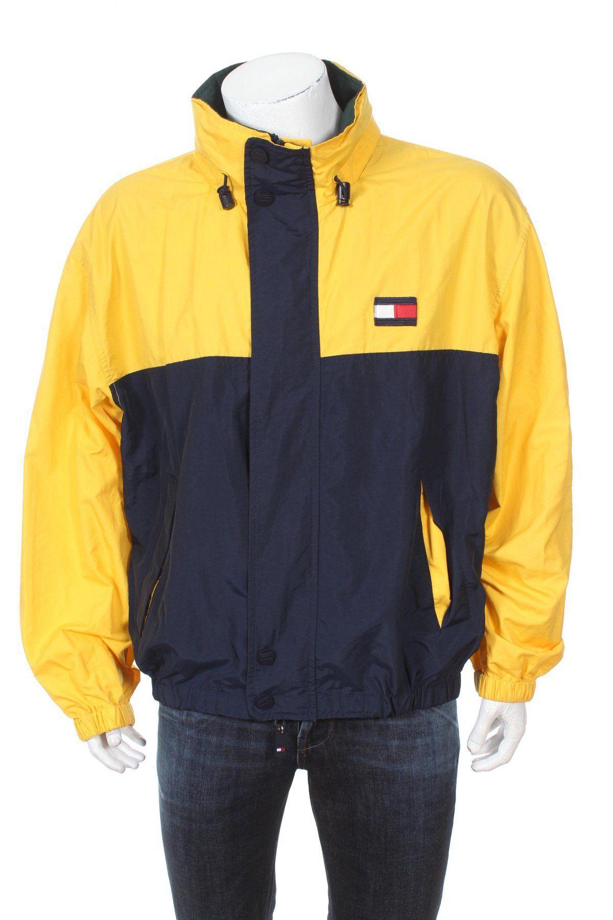 Vintage 90s Tommy Hilfiger Windbreaker Jacket Big Logo Spell Out Navy Blue Yellow Green Size Xl Tommy Hilfiger Windbreaker Windbreaker Jacket Tommy Hilfiger [ 1800 x 1200 Pixel ]
