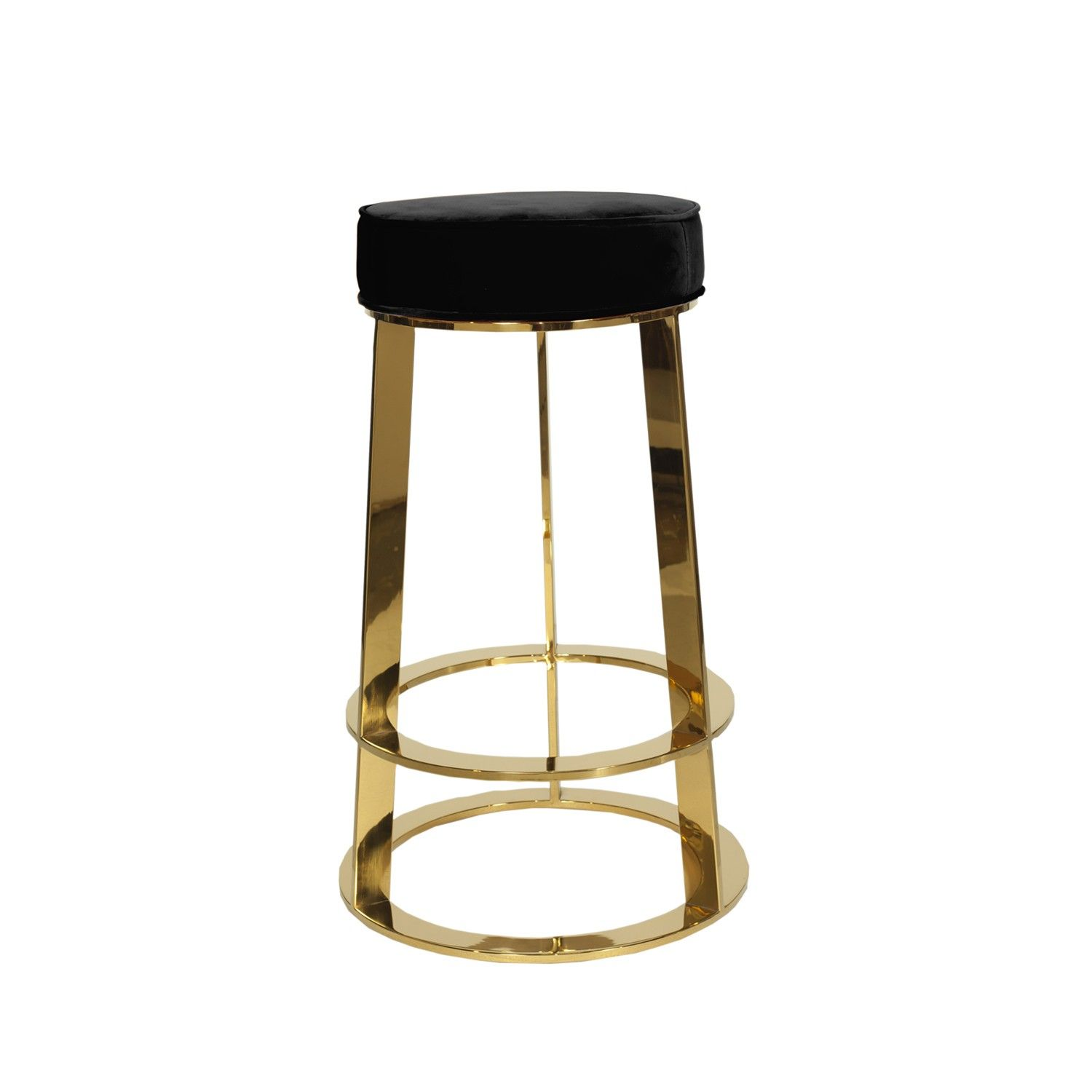 Captivating Worlds Away Samson Brass Round Counter Stool In Black
