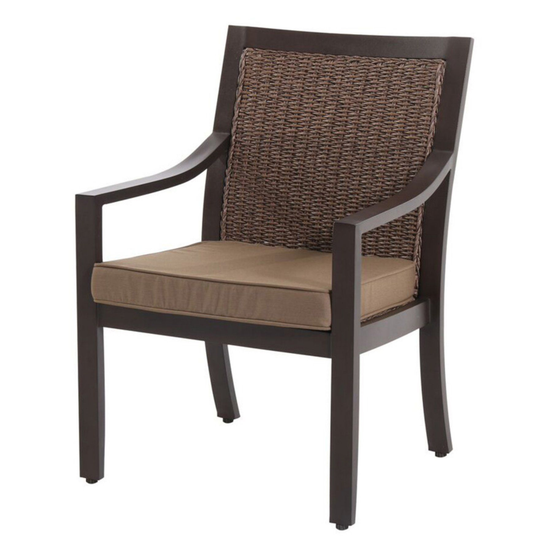 Outdoor Royal Garden Biscay Wicker Patio Dining Chair with Cushions - Spectrum Caribou - A085000-02-SCAC