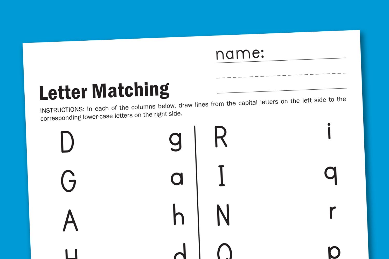 Worksheet Wednesday Letter Matching