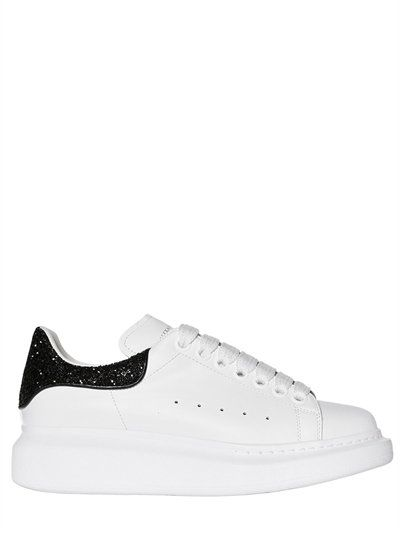 Alexander Mcqueen 40mm Glitter Heel Leather Sneakers White Black