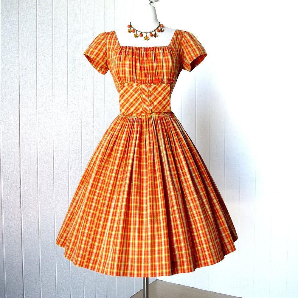 vintage 1950's dress JONATHAN LOGAN pumpkin plaid shelf-bust obi bow full skirt pin-up dress.