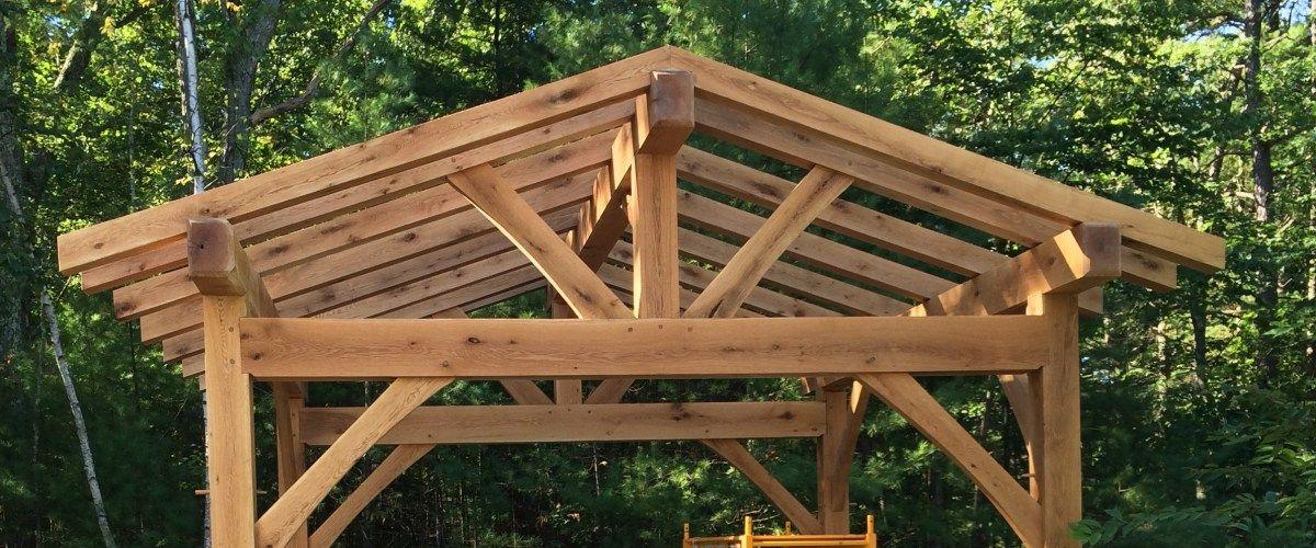 Timber frame outdoor structures timber framed outdoor for Timber frame kitchen