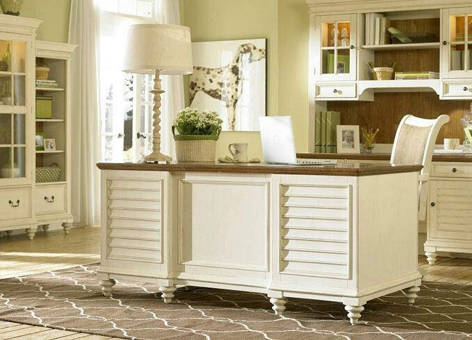 Love The Sage Green Walls And Antique White Furniture Home Office Furniture Desk White Home Office Furniture Home Office Furniture