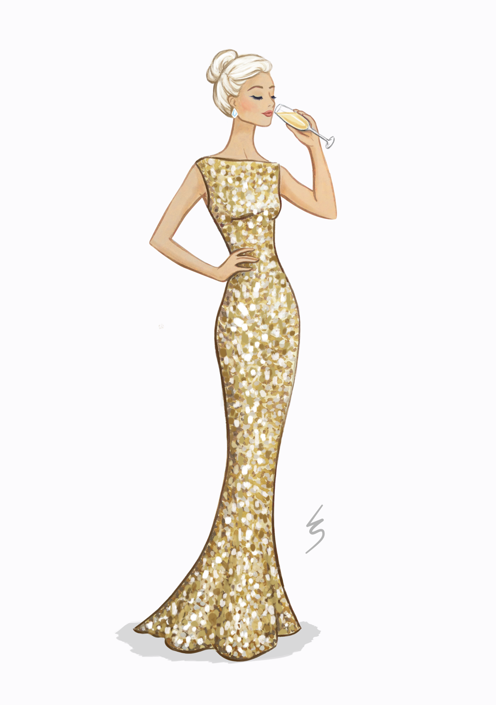 Lydia Snowden Illustration. Fashion Illustration. Champagne gold ...