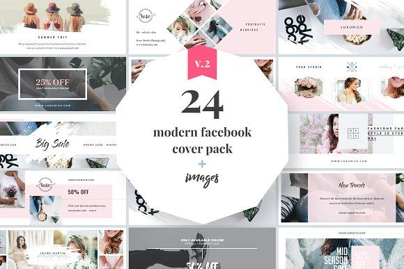 Modern Facebook Cover Pack by Trendest Studio on @creativemarket - marketing timeline template