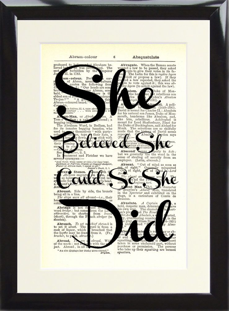 Dictionary Art Print She Believed She Could On Book Vintage Antique Page FRAMED