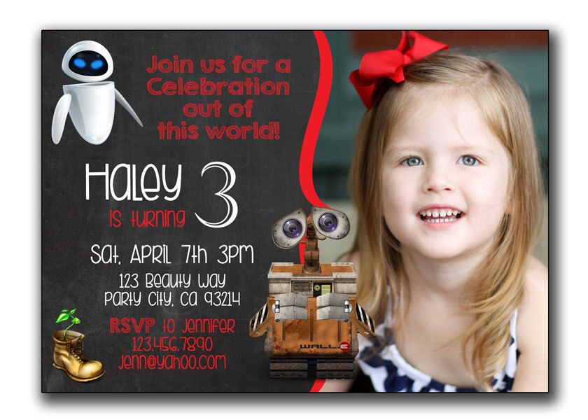 Wall-E Invitation, Disney Wall-E Birthday Invitations, Wall E