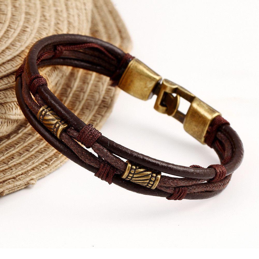 Hot style fashion multilayer leather bracelet leather bracelets