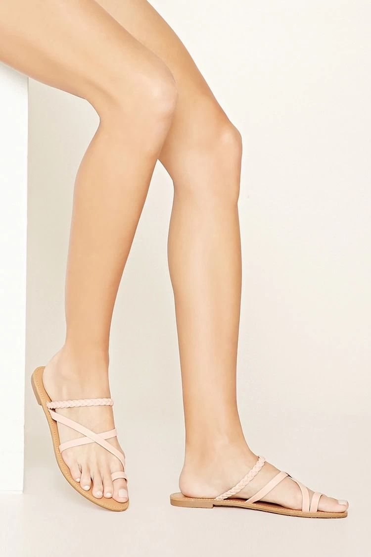 Sandales Plates De Couleur Nude - Foreva lzyRAvoZ