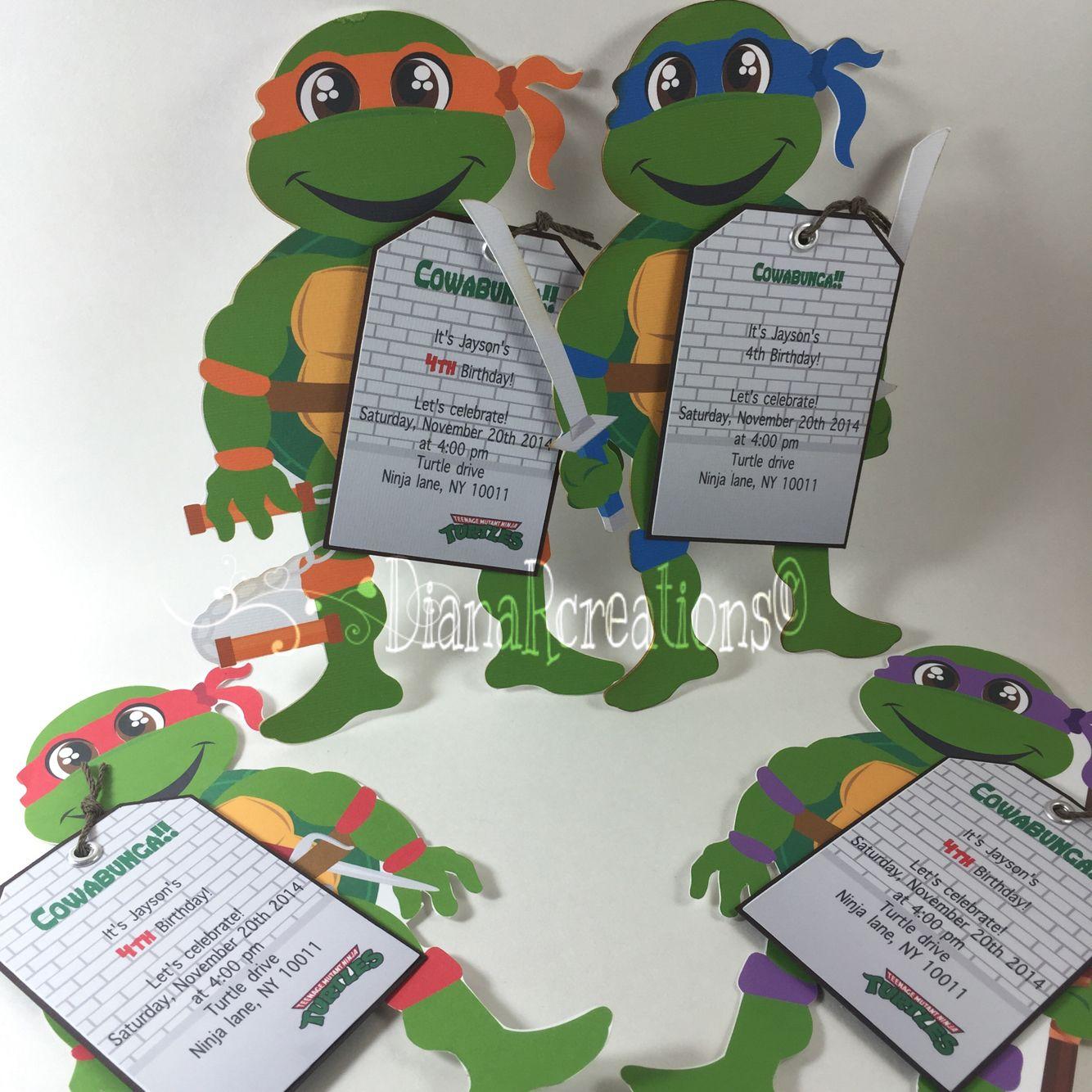 Ninja Turtle birthday invitations! Simple but cute ...