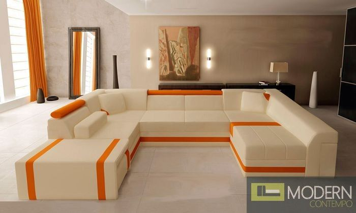 Spacious Orange And Beige Sectional Sofa Http Moderncontempo Com Modern Leather Section Sectional Sofa Modern Leather Sectional Sofas Leather Sectional Sofa