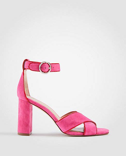 8be13a33474 Loving these pink Ann Taylor Alexa Suede Block Heel Sandals ...