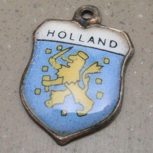 Holland Charm Vintage 800 Silver Enamel Travel Shield | eBay