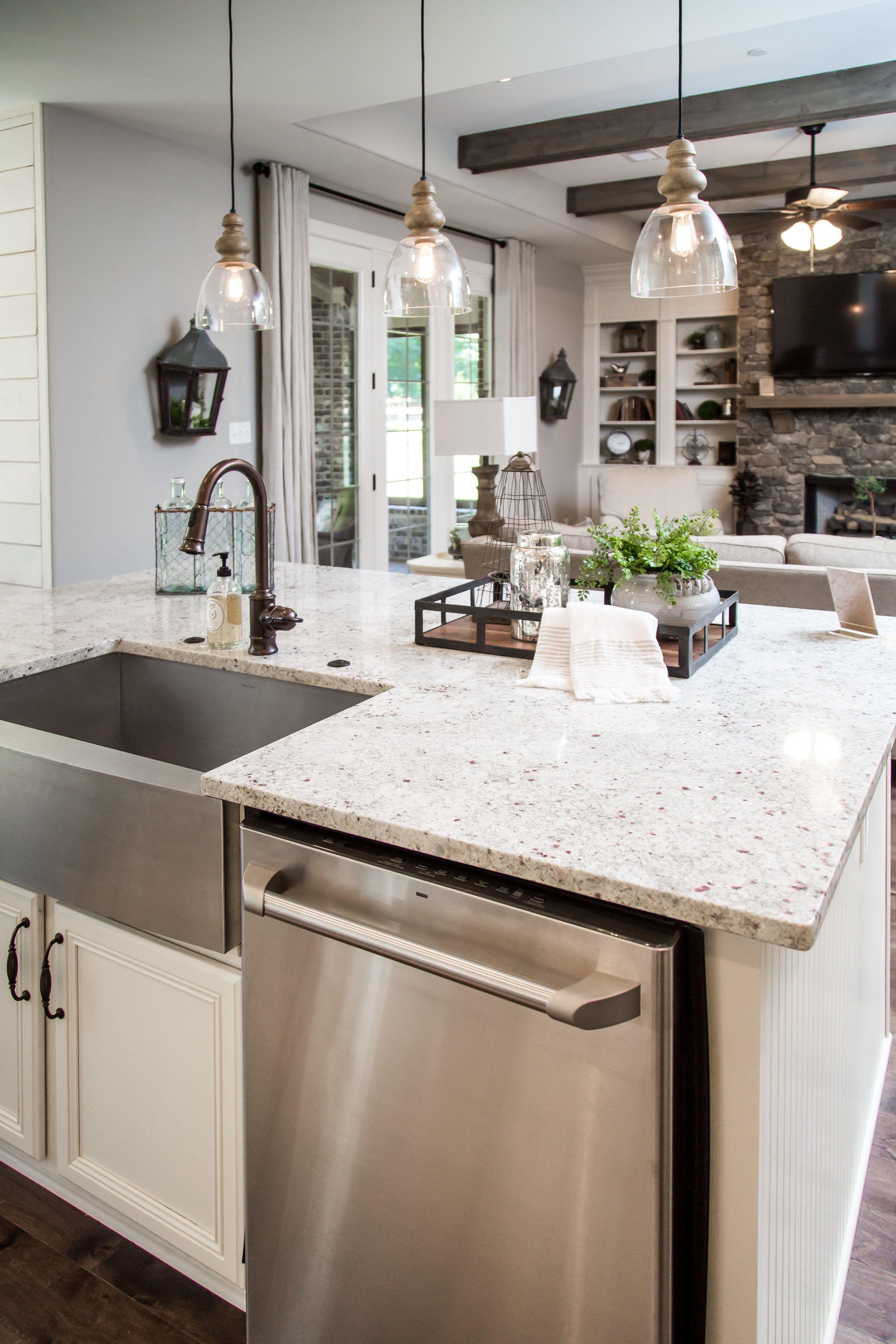 Regency Homebuilders Open Concept Living Large Kitchen White Cabinets Subway Tile Farm
