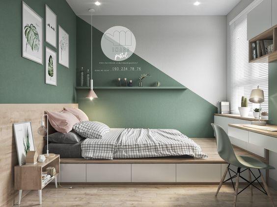 Paredes Geometricas En Dormitorios Infantiles Y Juveniles Decoracion De Paredes Dormitorio Dormitorios Decorar Pared Habitacion