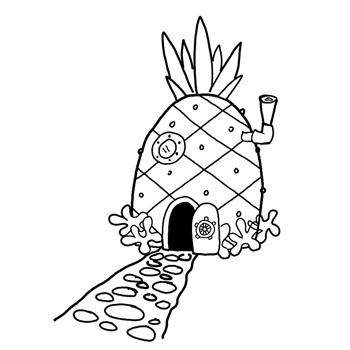 How to draw spongebob squarepants pineapple house for Dormitorio para colorear